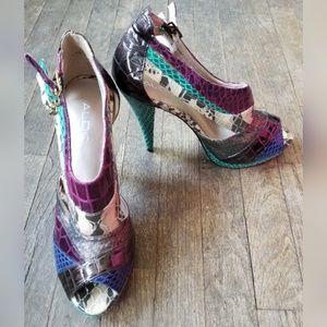 Aldo Multi Color Snakeskin Print Heels Booties